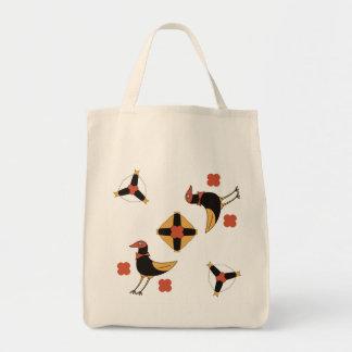 funny CARTOON fairytale birds on happy holiday. Tote Bag