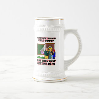 Funny Cartoon - Families & Children Who Come Home Beer Stein