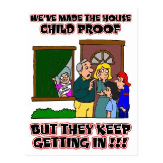 Funny Cartoon - Families & Children Who Come Home Postcard