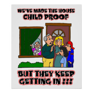 Funny Cartoon - Families & Children Who Come Home Poster