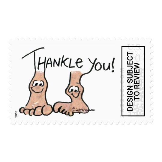 cea17a4072b Funny Cartoon Feet Thank You Postage