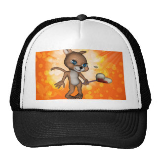 Funny cartoon figure with bee trucker hat