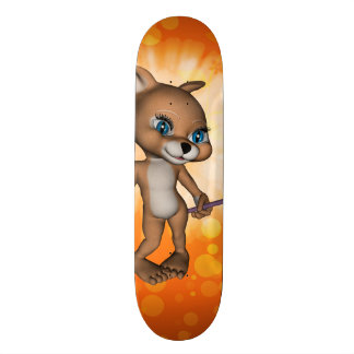 Funny cartoon figure with bee skateboard deck