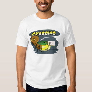 Funny Cartoon Firefly Insect Charging Up T Shirt