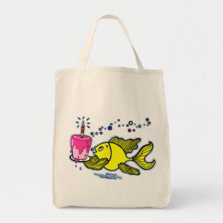 Funny cartoon fish bringing pink birthday cake Bag