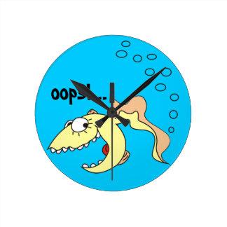 Funny Cartoon Fish Fart Kitchen Clock