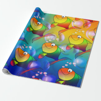 Funny cartoon fish gift paper