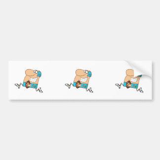 funny cartoon football player running aqua bumper sticker