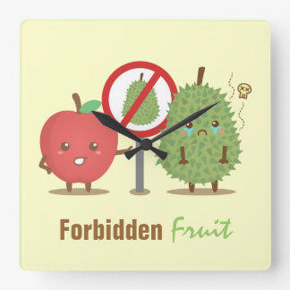 Funny Cartoon, Forbidden Fruit, Apple and Durian Clock