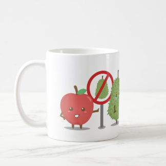 Funny Cartoon, Forbidden Fruit, Apple and Durian Classic White Coffee Mug