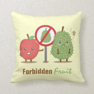 Funny Cartoon, Forbidden Fruit, Apple and Durian Throw Pillow
