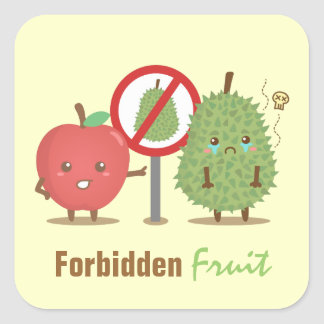 Funny Cartoon, Forbidden Fruit, Apple and Durian Square Sticker