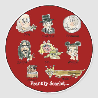 Funny Cartoon Frankly Scarlet Stickers / Seals