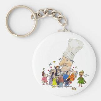 Funny Cartoon French Chef Basic Round Button Keychain