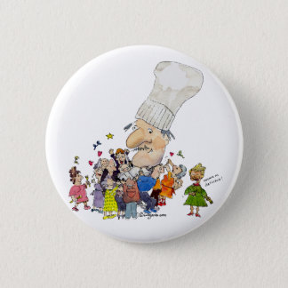 Funny Cartoon French Chef Button