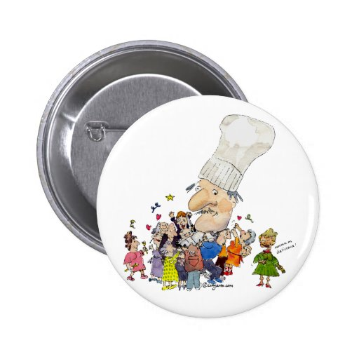 Funny Cartoon French Chef Buttons