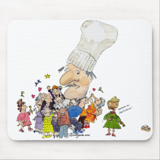 Funny Cartoon French Chef Mouse Pad