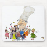 Funny Cartoon French Chef Mouse Pads