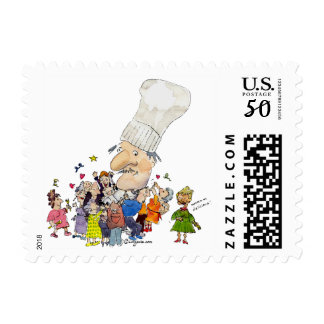 Funny Cartoon French Chef Postage Stamps