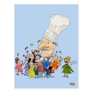 Funny Cartoon French Chef Post Cards