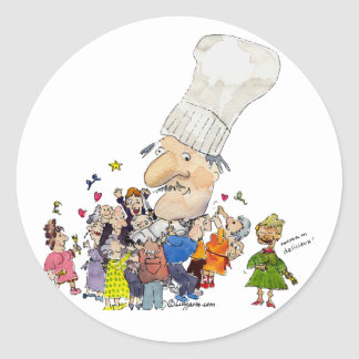 Funny Cartoon French Chef Stickers/Seals Classic Round Sticker