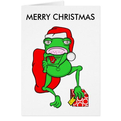 Funny Cartoon Frog Santa Merry Christmas Greeting Card  Zazzle