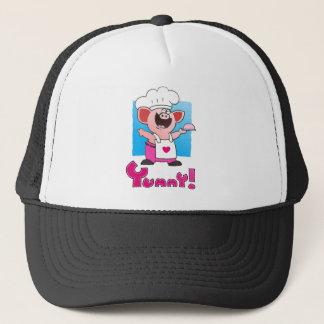 Funny Cartoon | Funny Cartoon Pig Chef Trucker Hat