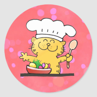 Funny Cartoon | Funny Kitty Chef Classic Round Sticker