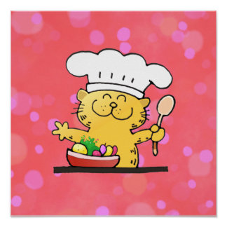 Funny Cartoon | Funny Kitty Chef Poster