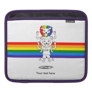 Funny Cartoon Gay Pride Lions Rainbow Mane iPad Sleeve