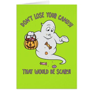 Halloween Themed Funny Cartoon Ghost Halloween Card for Kids