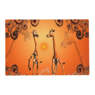 Funny cartoon giraffe laminated placemat