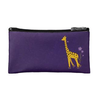 Funny Cartoon Giraffe Roller Skating Purple Makeup Bag