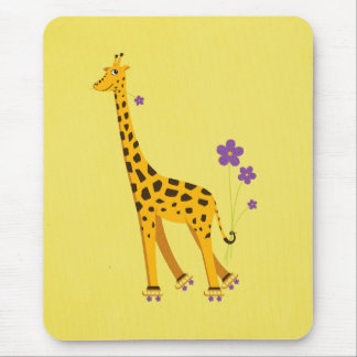 Funny Cartoon Giraffe Roller Skating Yellow Mouse Pad