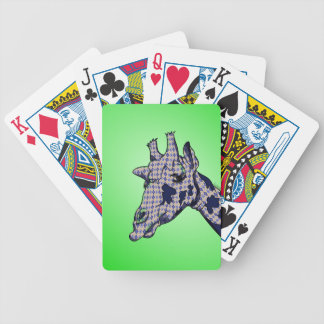 Funny Cartoon Giraffe With Patterned Skin Bicycle Playing Cards