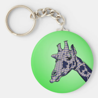 Funny Cartoon Giraffe With Patterned Skin Keychain