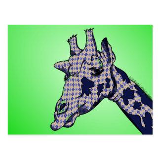 Funny Cartoon Giraffe With Patterned Skin Postcard