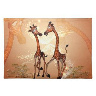 Funny cartoon giraffes cloth placemat