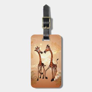 Funny cartoon giraffes luggage tag