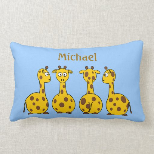 Funny Cartoon Giraffes on Blue Children's Custom Lumbar Pillow