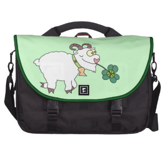 Funny Cartoon Goat and Clover Laptop Bags