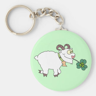 Funny Cartoon Goat with Clover Cute Keychains