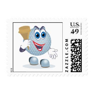 funny cartoon golf ball character postage