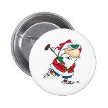 funny cartoon golfing golfer santa claus buttons