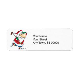 funny cartoon golfing golfer santa claus label
