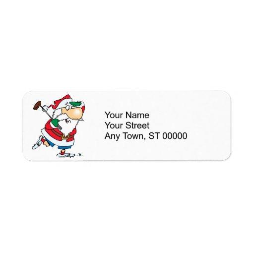 funny cartoon golfing golfer santa claus return address labels