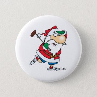 funny cartoon golfing golfer santa claus pinback button