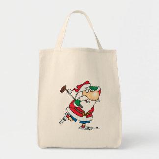 funny cartoon golfing golfer santa claus tote bag