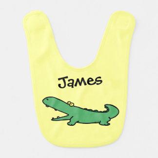 Funny cartoon green crocodile - just add name baby bib