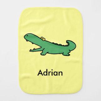 Funny cartoon green crocodile - just add name burp cloth